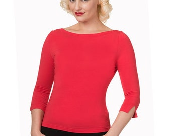 Brand New Vintage Style Modern Love Bardot Top in Red Rockabilly Retro Pin Up
