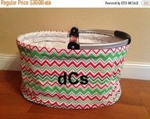 4thofJulySale Christmas Chevron Collapsible Market Basket Tote Personalize or Monogram Included