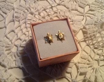 Turtle Earrings 14k Gold Adorable Vintage 1980's Fine Jewelry SALE