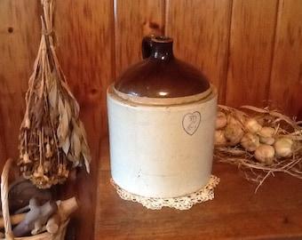 Stoneware Jug Primitive 1800's 2 Gallon Country Farmhouse Home Decor
