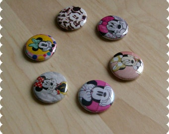Minnie Mouse Pins, Magnets, or Thumb Tacks - Set of 6, Disney, Back to School, Kid Room Decor