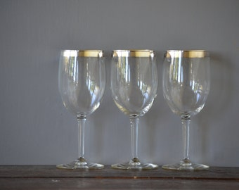 Three (3) Silver Rimmed Wine Glasses / Sterling Overlay