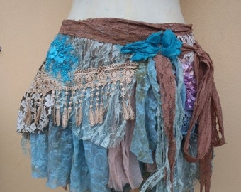 """20%OFF gothic bohemian gypsy lagenlook lace bellydance skirt belt...46"""" across  plus long ties...large FREE SHIPPING"""