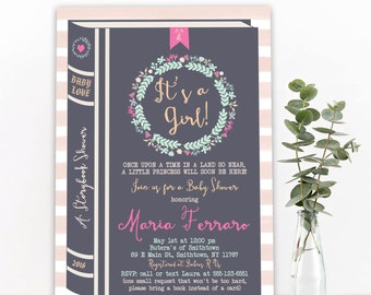 Storybook Fairytale Baby Shower Invitation - Children's Book Baby Shower, Girl or Boy - PRINTABLE or Printed Invitations