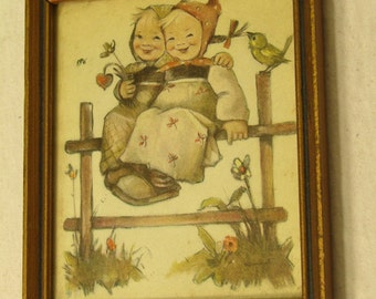 Vintage Small Gold Painted Wooden Framed Hummel Picture Two Girls on the Fence
