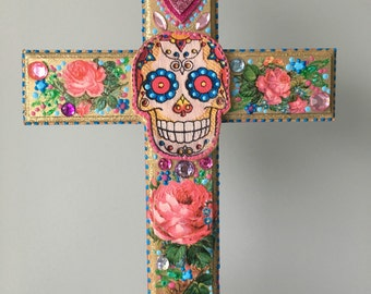 Sugar skull day of the dead skull on XL wooden cross / mexican craft  // OOAK art / Mexican Love heart wedding gift