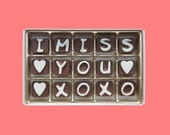 Long Distance Boyfriend Gift for Men Distant Love, Friendship, Long Distance Relationship Gifts, I Miss You XOXO Chocolate Letters Message
