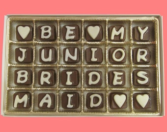 Junior Bridesmaid Gift Ask Will You Be My Junior Bridesmaid Invitations Luxury Fun Rustic Gift Cool Message Box Gift Cubic Chocolate Letters