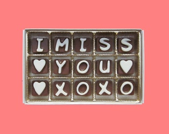 Long Distance Relationship Boyfriend Gift Men Distant Love Friendship Best Friend BFF Greeting Fun I Miss You XOXO Chocolate Letters Message
