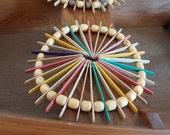 On Sale Vintage Hot Pad Popsicle Sticks Beads Handmade Rainbow Wood Beads Retro