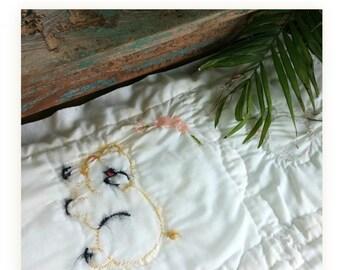 Handmade Embroidered Thibodaux, Louisiana Baby Blanket Shabby Chic Tattered