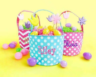 Personalized Monogrammed Embroidered Easter Baskets - Hot Pink Dots Hot Pink Chevron Aqua Dots