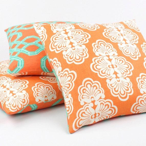 Orange Turquoise Lilly Pulitzer Pillow Cover 20x20, Throw Pillow, Toss Pillow, Accent Pillow, Orange Pillow, Reversible, Mango Tango