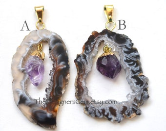 Black and White Geode Raw Druzy Pendant, Gold Dipped Geode with Amethyst Drop