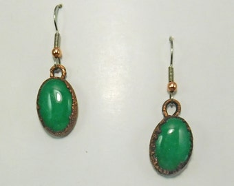 Aventurine and Copper Earrings, Free US Shipping, Aventurine