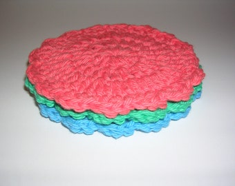 Coral, green, blue Summer crochet coasters (3)