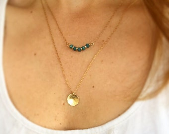 Green and gold necklace. Layers necklace. Beadwork necklace. Double layers necklace. Christamas gift.