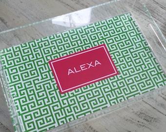 Personalized Acrylic Tray - 3 Sizes - Monogram Acrylic Tray- Vanity Tray  Decorative Tray Hostess Gift