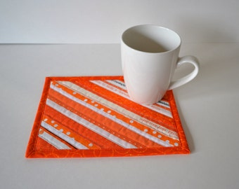 Pretty Orange Mug Mat, Quilted coasters, Mini placemats, mug mat, quilted mug rug, upcycled selvage, eco friendly
