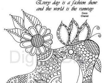 Adult Coloring Pages, Vintage Shoe & Flowers and Swirls, Adult Coloring Page, INSTANT DOWNLOAD,  Kids Colouring Page, Kids Craft Activity
