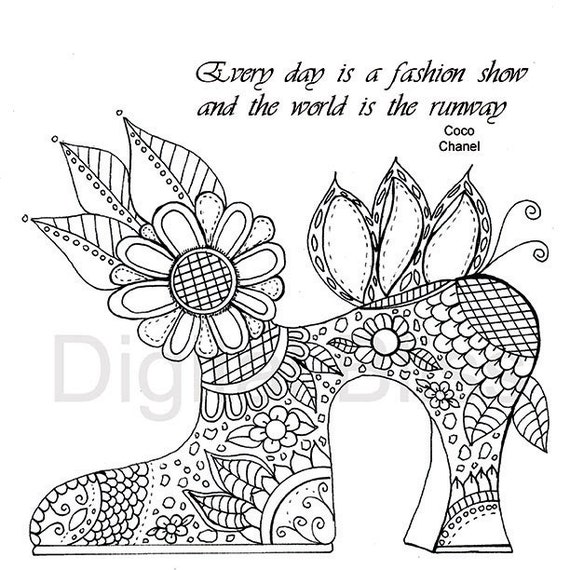 Adult Coloring Pages Vintage Shoe Amp Flowers And Swirls Adult Coloring Page INSTANT DOWNLOAD