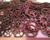 "40g  3/8""- 1"" Antique Copper Gears 25+ Pieces Lot New Steampunk Watch Parts Clock Wheels"
