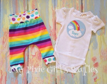 Personalized Rainbow Pants and Bodysuit