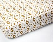 TRIBAL crib sheet, aztec crib sheet, tribal bedding, GOLDEN BROWN boy crib sheet, aztec bedding, changing pad cover, southwestern nursery