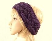 Knit headband, head wrap, ear warmer - purple heather color women's winter accessories, gift for her - ready to ship - Sandy Coastal Designs