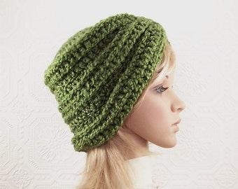 Hand crocheted hat - turban beanie - olive green - Gift for her - Winter Fashion Accessories by Sandy Coastal Designs - ready to ship