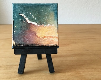 Mini Painting, Night Sky Art, Prairie Grassland, Watercolor Painting, Galaxy Artwork, Constellation, Northern Lights, Original Landscape