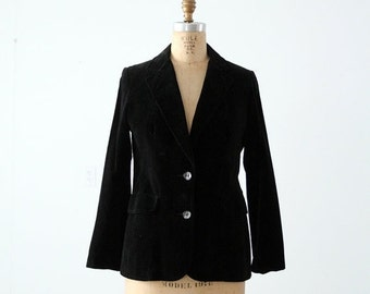 SALE 1970s black velvet blazer