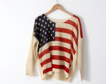 American flag knit top, vintage light weight sweater