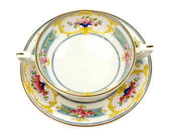 Royal Worcester Cream Soup Set - Antique Soup Bowl and Saucer, Set of 4, Marseilles Pattern, Made in England, c.1925