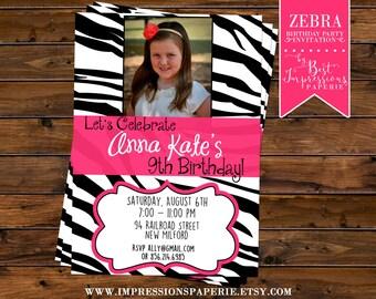 Zebra - A Customizable Photo Birthday Party Invitation - Zebra and Pink