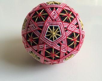 New Year Stars Temari Ball - Japanese folk art