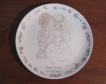"Vintage ""Happy 25th Anniversary"" Precious Moments Collector Plate - 1988 - Gift - Marriage - Sam Butcher"