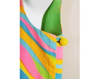 1960s -70s Psychedelic  Dress/ reversible / sleeveless / swimsuit cover up / hot pink / lime green / film/ TV / stage / op art