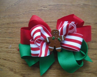 Gingerbread  Boutique Hair Bow with  or without Crochet Headband