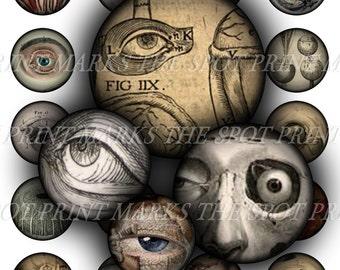 Digital Download Collage Sheet Vintage Victorian Eyes Eyeballs Anatomy Halloween Horror Macabre Oddity 1 Inch Circles Bottle Caps Version 2