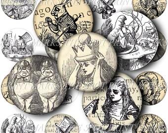 SALE Digital Download Collage Sheet Vintage Alice In Wonderland Best Of Sampler Mad Hatter Rabbit 1890s Images Bottle Caps 1 Inch Circles