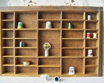 Vintage Display Case Thimble Collection Shadow Box Wood Tray Wood Box Treasure Display 1970s