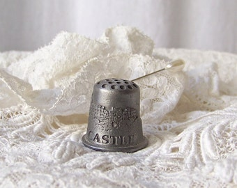 Vintage Hearst Castle Pewter Thimble Souvenir Collector Thimble Sewing Room California Souvenir 1980s