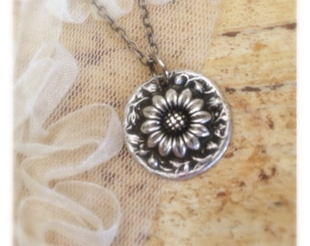 Sunflower Necklace, Silver Sunflower,  Dainty Sunflower Charm, Everyday Necklace, Flower Necklace