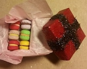A set of 6 miniature French macarons gift box for dollhouse. Non Edible