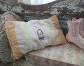 Vintage French Boudoir Throw Pillow Sheer Sunshine Orange Organdy Lace Trim Hand Embroidered Flower Basket Flowers  Shabby Chic
