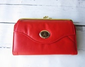 Vintage Red Leather Wallet Small Clutch NOS