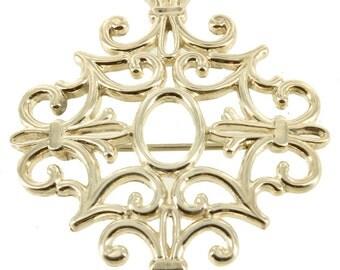 "Vintage Sterling French Fleur De Lis Design Unusual Filigree Pin 40's-50's 1.5"""