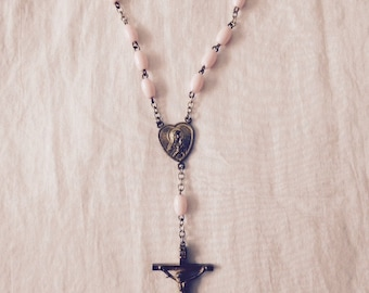 """Rosary Light Pink Beads Brass Finish Approx 12.25"""" Chain Virgin Mary Jesus Still Nailed to the Cross Aren't You Glad He Didn't Stay There"""