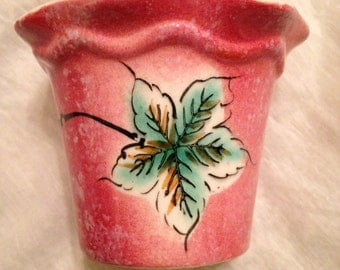 Vintage 1950s Flower Pot. Rose Color Background with Hand Painted Teal Leaf Very Lovely and Unique